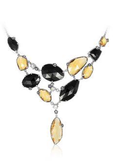 MARC Sterling Silver Quartz Cubic Zirconia Onyx Marcasite Necklace $329