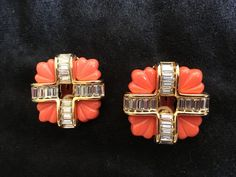 Kenneth Jay Lane Gold Coral and crystal clip earrings #KennethJayLane #Clip