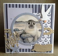 Marianne Design Cards, Nautical Marine, Nautical Cards, Beach Cards, Up Book, 3d Cards, Die Cut Cards, Crafters Companion, Making Ideas