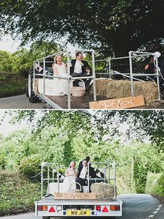 wagon ride ,for the wedding party while we ride on the tractor in front