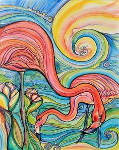 love Colleen Wilcox's style -- Flamingo art