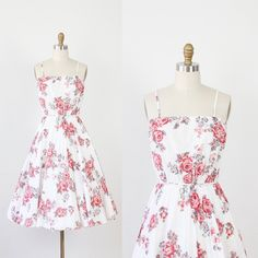 Pink Rose Floral Dress with Full Pleated Skirt by salvagelife, $68.00