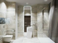 white bathroom design with ceiling lamps and faucet combined with marble tile and modern white wash basin: sleek modern apartment ideas for girl and guy