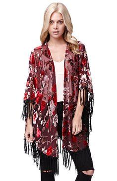 LA Hearts Burnout Velvet Floral Kimono #pacsun   Love the stole/shawl