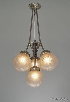 Pierre Maynadier & Muller freres : French 1930 art deco chandelier. (Paravas - ebay)