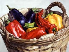 Canasta con verduras.Oleo