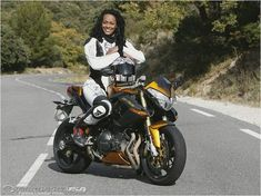Photos of Janie Omorogbe, journalist at Motorcycle USA, test. Motorcycle Suit, Motorbike Girl, Cafe Racer Motorcycle, Motorcycle Girls, Lady Biker, Biker Girl, Buell Cafe Racer, Buell Motorcycles, Biker Chick