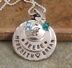 Personalized Mother's Necklace - Hand Stamped Initial Jewelry for Mom with Last Name Monogram and Family Names - Choice of Birth Crystals. $59.00, via Etsy.