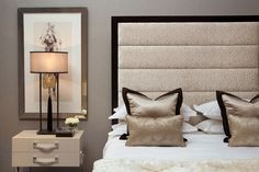 Miro Headboard - This modern design with its stunning show wood frame incorporates plush horizontal flutes of fabric to add an element of depth and luxury to your bedroom. Miro will compliment any bed, but is particularly suited to our Beethoven and Corelli bed bases. Available in a variety of sizes.