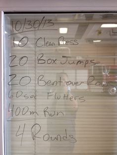 """Firehouse WOD - For Time  Use an Olympic bar for the clean&press and the row (I used 90#).  24"""" Box Jump  Take breaks when you need to, but the goal is little to no breaks."""