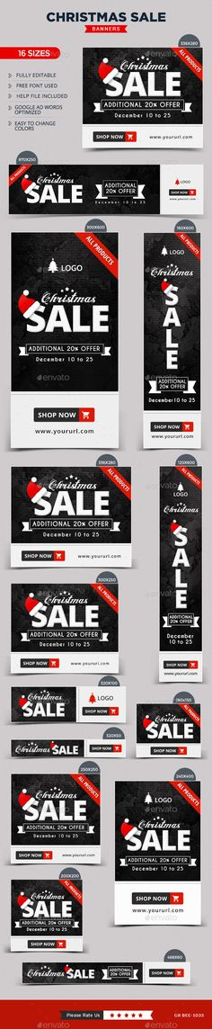 Buy Christmas Banners by Hyov on GraphicRiver. Promote your Products and services with this great looking Banner Set. 16 awesome quality banner template PSD files r. Banner Template, Banner Sample, Web Design, Web Banner Design, Flat Design, Graphic Design, Christmas Banners, Christmas Design, Google Banner