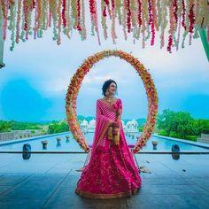 This Sabyasachi bride's Offbeat Mehendi look is breaking the internet! Desi Wedding Decor, Wedding Stage Decorations, Marriage Decoration, Wedding Mandap, Wedding Receptions, Flower Decorations, Wedding Ceremony, Table Decorations, Trendy Wedding