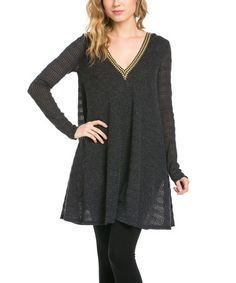 Another great find on #zulily! Black Stripe Hooded V-Neck Dress #zulilyfinds