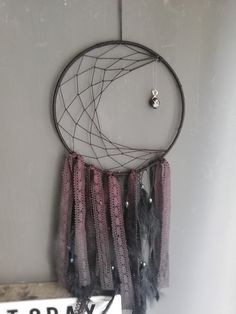 Handmade dreamcatchers and paintings by DreamsAndSubmarines Black Goth, Dreamcatchers, Etsy Seller, Moon, Unique, Creative, Handmade, Painting, The Moon
