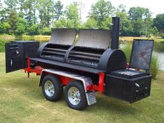 """10'x30"""" with grill griddle with optional gas warmer smoker cooker box. Custom Bbq Grills, Bbq Smoker Trailer, Barbecue Smoker, Grilling, Smoke Grill, Carne Asada, Smoker Cooker, Cookers, Homemade Smoker"""