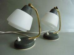 2 Stylische - Tischlampen aus den 50er Jahre Schlafzimmer.