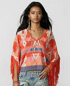 Denim & Supply Ralph Lauren Southwestern-Print Fringed Poncho coral/multi viscose/linen/cotton szXS/S 125.00
