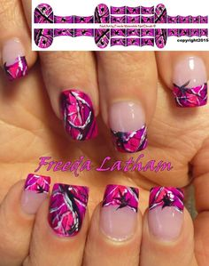 Nail Art Designs In Every Color And Style – Your Beautiful Nails Camo Nail Designs, Nail Art Designs, Fingernail Designs, Acrylic Nail Designs, Acrylic Nails, Nails Design, Pink Camo Nails, Camo Nail Art, Camouflage Nails
