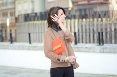 brown chiffon, black leggings and effective details