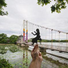 """The lady on the bridge? Yeah she's allright but she harps on a bit"" #Jeonju #Korea #DeokjinPark #Harp #Bridge #전주 #덕진공원"