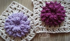 pop corn granny square crochet patron gratis free pattern.   (In Spanish with diagram.)