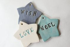SALE Clay Star Ornaments set of 3  Love Wish Noel by MissPottery (Home & Living, Home Décor, Ornaments & Accents, etsymudteam, stoneware clay, tagt team, set of three, ornament, holiday decor, white star, christmas decor, country cottage, blue star, periwinkle star, ornament set, love wish noel)