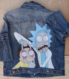 Rick and Morty Hand Painted Jacket, Upcycled Vintage Denim Jacket Hand Painted Denim Jacket, Rick and Morty themed. Perfect for people who love a unique style or want to give the perfect gift. From the CUSTOMDENIMCLUB Diy Upcycled Art, Upcycled Vintage, Vintage Denim, Upcycled Furniture, Furniture Ideas, Painted Denim Jacket, Painted Jeans, Painted Clothes, Hand Painted