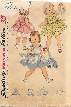 1950s Toddler Sundress and Bonnet, Simplicity 4692 Sewing Pattern by GrandmaMadeWithLove on Etsy