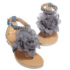 Chiffon Fabric Flower Flats T Straps Sandals Beach Shoes