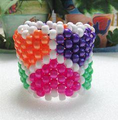 Kandi Stretch Beaded Cuff Bracelet In Multi by TheBeadedDiamond, $5.00