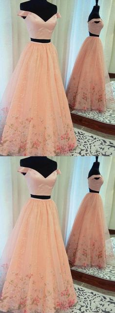 Pink Two Pieces Homecoming Dresses Off the Shoulder Long Prom Dresses Applique Evening Formal Dresses,HS750 #promdress #fashion #shopping #dresses #eveningdresses #2018prom