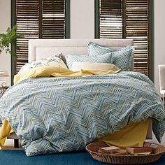 Canyon Chevron Linen Duvet Cover / Sham- I didn't think I  liked this initially but I do!!!!! very basic though