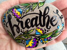 breathe / painted rocks / painted stones / let go / relax / paperweights / words on stone / rock art / boho art / hippie / yoga / trust by LoveFromCapeCod on Etsy https://www.etsy.com/listing/478631637/breathe-painted-rocks-painted-stones-let