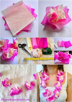 DIY: How to make paper Hawaii lei, necklace