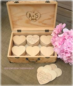 alternative guest book, have each guests write on a heart and place it in the box, so cute!