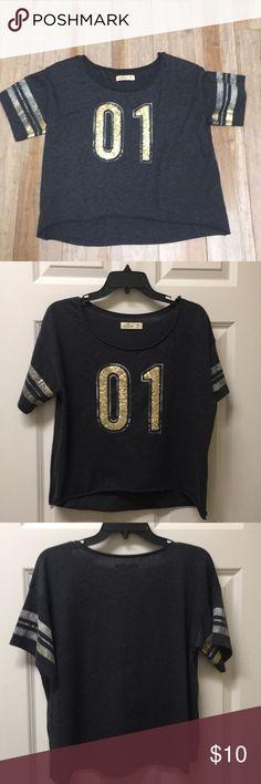 Hollister shirt Navy blue with gold sparkle Hollister Tops