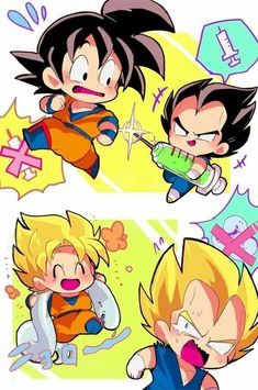 Dragon Ball Gt, Dragon Ball Image, Dragon Z, Anime Chibi, Goku Chibi, Anime Kawaii, Couples Anime, Cute Dragons, Dbz Characters