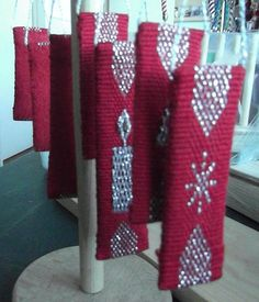 Handwoven Christmas decorations by Sally Gibson
