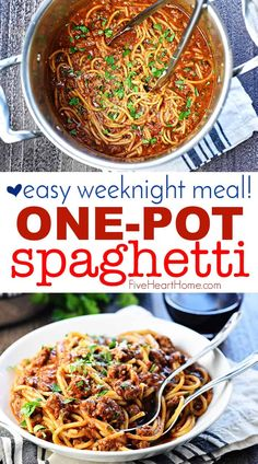 One-Pot Spaghetti - One-Pot Spaghetti ~ spaghetti gets a makeover with this quick, easy, delicious one-pot recipe! It's a family-pleasing dinner for busy weeknights.with only one pot to wash! Spaghetti With Ground Beef, One Pot Spaghetti, Spaghetti Recipes, Spaghetti Noodles, Spaghetti Casserole, Yummy Pasta Recipes, Easy Dinner Recipes, Beef Recipes, Real Food Recipes