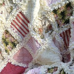 bohemian and shabby chic quilts by amy butler | Shabby Chic French Country Cottage Rag Quilt Lap or Toddler Size Minky ...