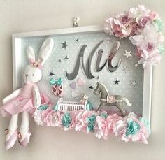 Our door decoration is 50 × 30 cm. Recommended ProductsBaby Room FrameMonth and … - Kinderzimmer Baby Crafts, Diy And Crafts, Name Wall Art, Baby Frame, Diy Bebe, Baby Keepsake, Frame Crafts, Box Frames, Baby Decor