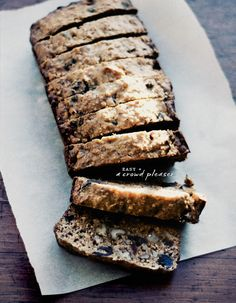 This looks like banana bread with nuts and dates, or raisins. Yum-o
