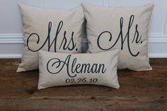 Mr. & Mrs. Custom Pillow Covers with Name and by SoVintageChic