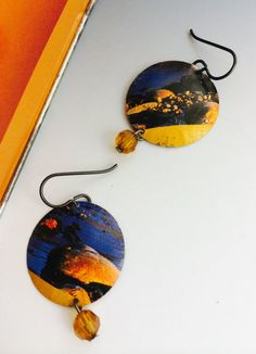 Gold loves Blue These earrings are made from a by SusanParrishArt