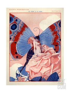 'Le Flirt A La Rose' - 'La Vie Parisienne' Illustration by Julien Jacques Leclerc, Comics Vintage, Vintage Posters, Vintage Artwork, Art And Illustration, Butterfly Illustration, Fantasy Kunst, Fantasy Art, La Girl, Retro Poster