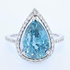 Princess Bride Diamonds | Huntington Beach | The 14K White Gold Pear Shape Blue Zircon Engagement Ring