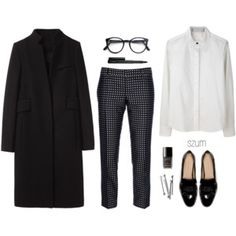 Black jacket, white top, print pants, flats
