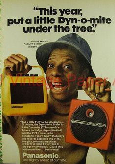 Panasonic TNT 8 Track Player ad with JJ. I had that yellow cassette player. Retro Advertising, Vintage Advertisements, Vintage Ads, Celebrity Advertising, Retro Cafe, Monitor, Record Players, Old Ads, Classic Tv