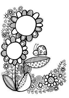 doodle flowers doodles flower drawing simple coloring pages adult books Doodle Art, Doodle Drawings, Doodles Zentangles, Zentangle Patterns, Flower Doodles, Doodle Flowers, Coloring Book Pages, Coloring For Kids, Art Plastique