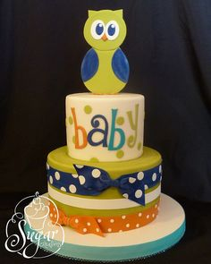 owl-theme baby shower cake @Natalie Jost Jost Rasmussen  (I am planning for you after all!)